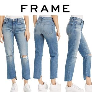 FRAME Le High Straight Leg Released Hem Crop Jeans